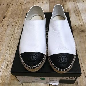 Chanel Authentic White Black Calfskin Espadrille